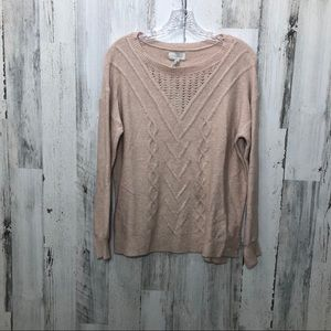 Lucky Brand Soft Pink Boho Cable Knit Sweater NWT